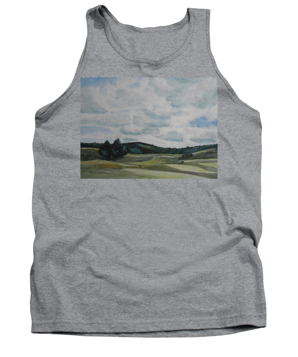 Mountains Tank Top featuring the painting Clouds Over Boot Hill by Jenny Armitage