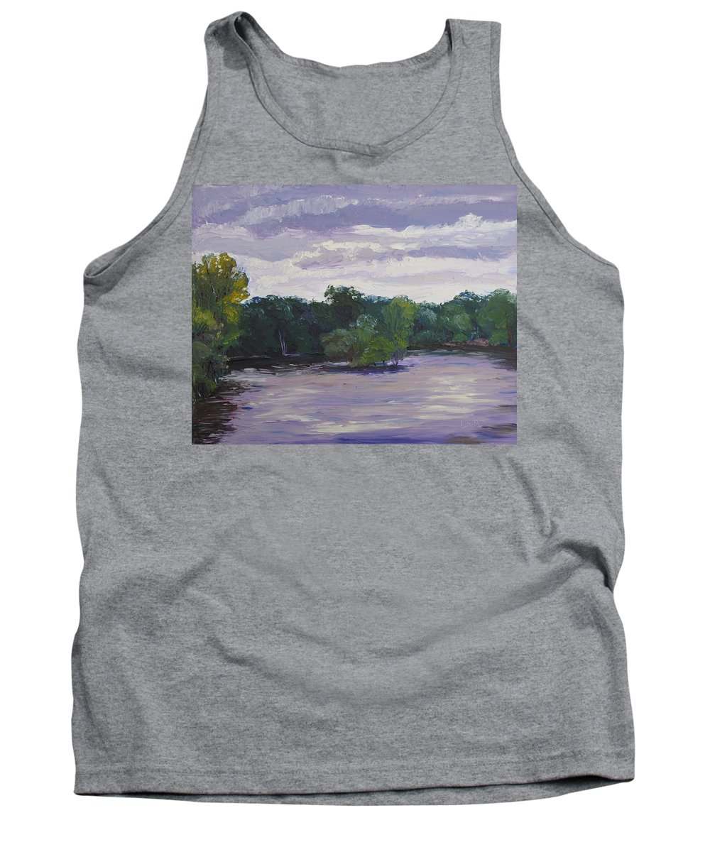 Landscape Tank Top featuring the painting Clouds Over The Lake by Lea Novak