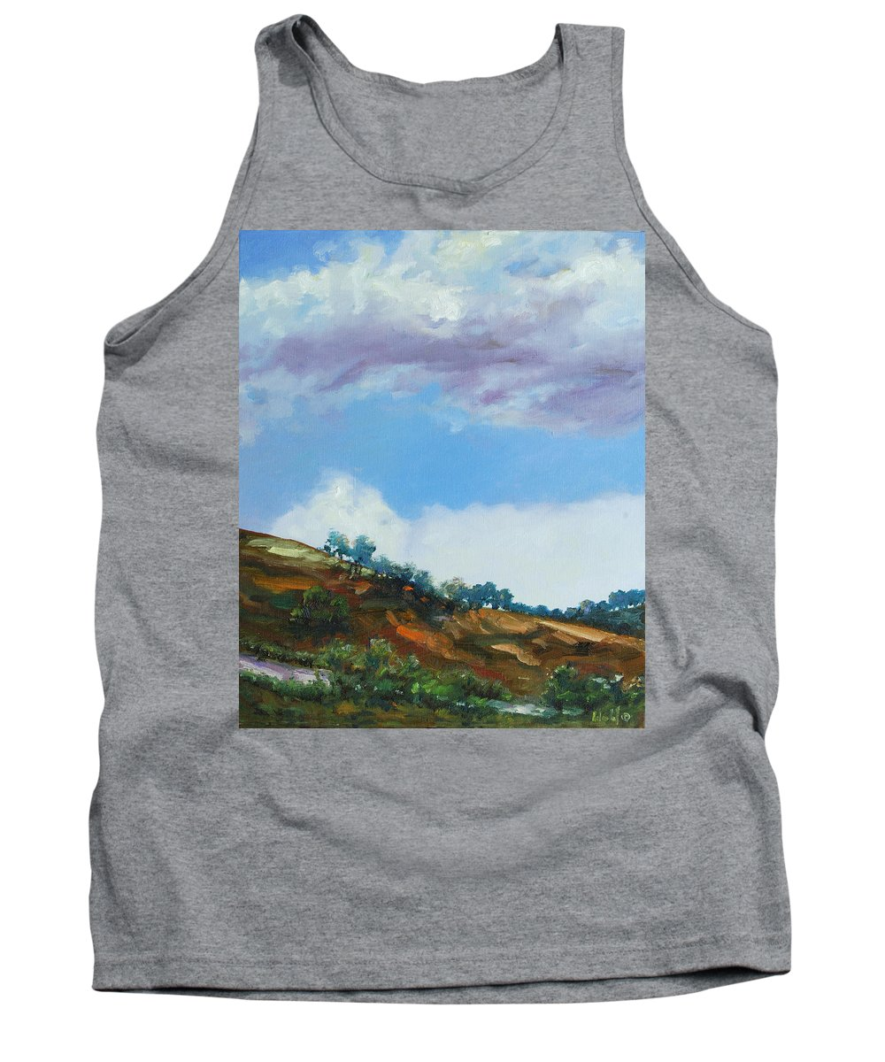 Sky Tank Top featuring the painting Clouds by Rick Nederlof