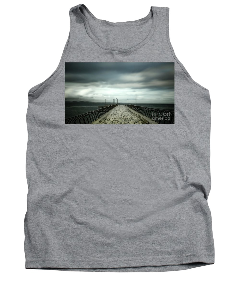Pier Tank Top featuring the photograph Cloudy Pier by Perry Webster