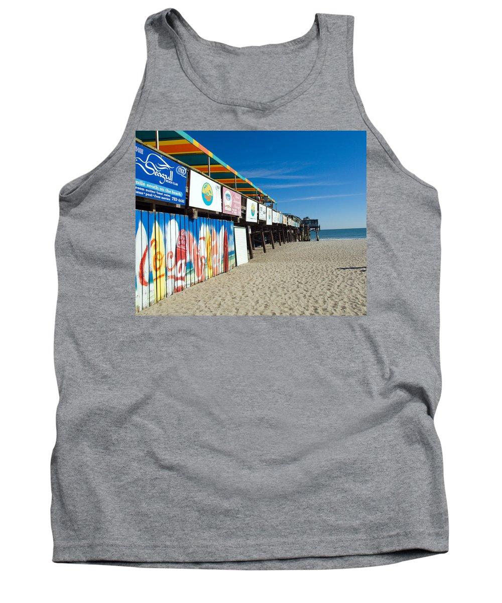 Florida; Cocoa; Beach; Atlantic; Ocean; East; Space; Coast; Brevard; Central; Pier; Surf; Surfing; F Tank Top featuring the photograph Cocoa Beach Flotida by Allan Hughes