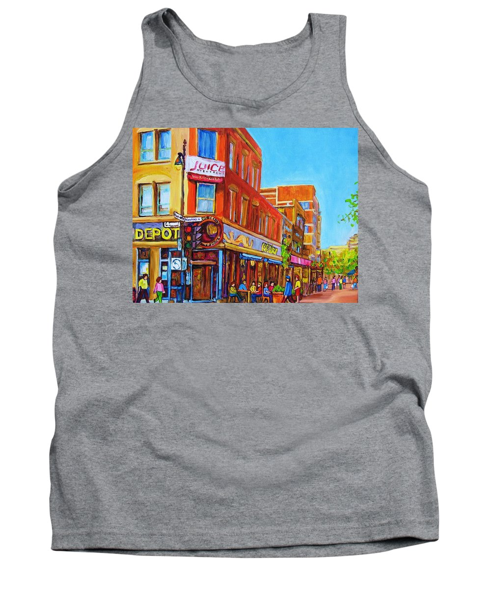 Cityscape Tank Top featuring the painting Coffee Depot Cafe And Terrace by Carole Spandau
