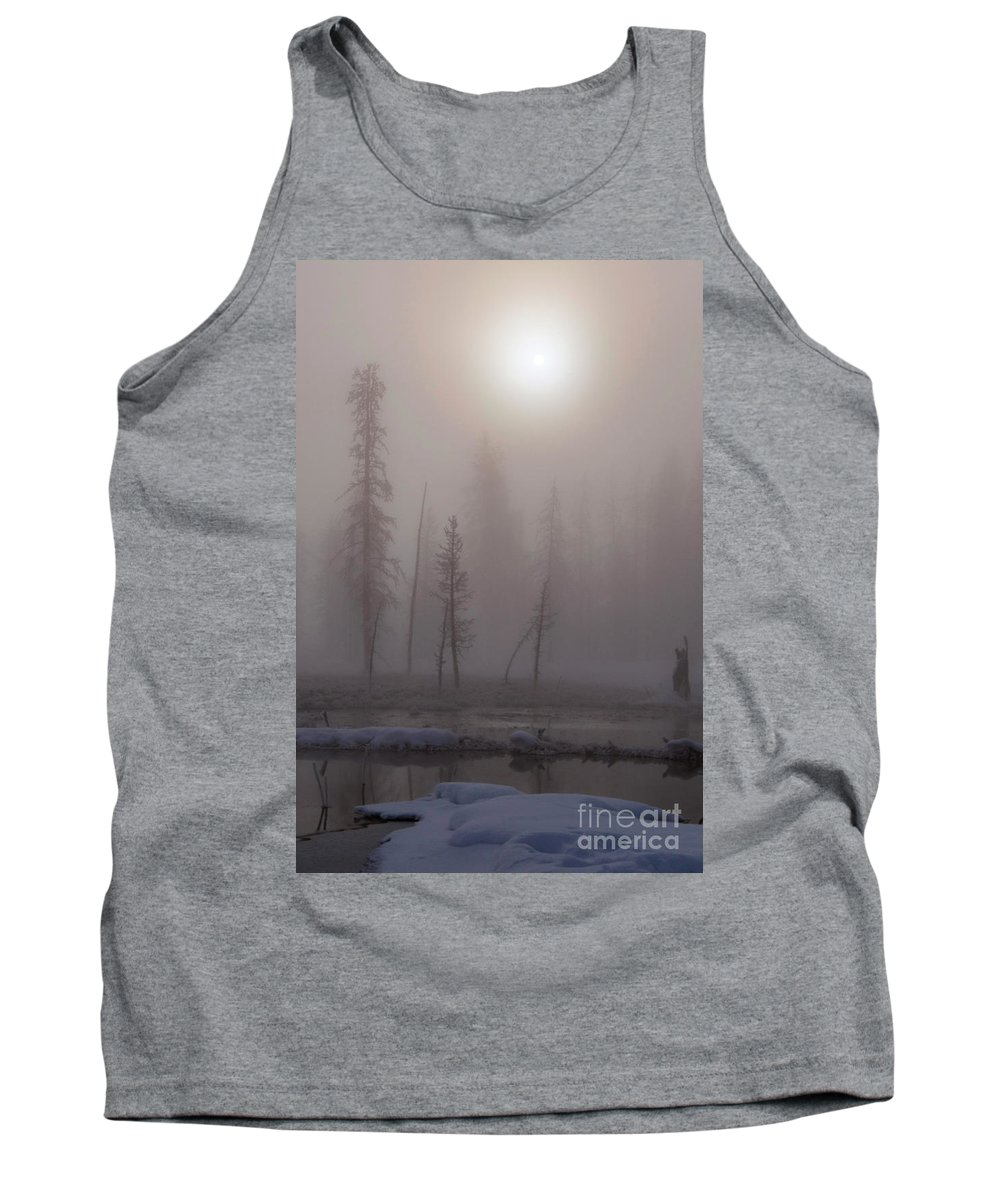 Yellowstone National Park Tank Top featuring the photograph Cold Morning Mist by Bob Phillips