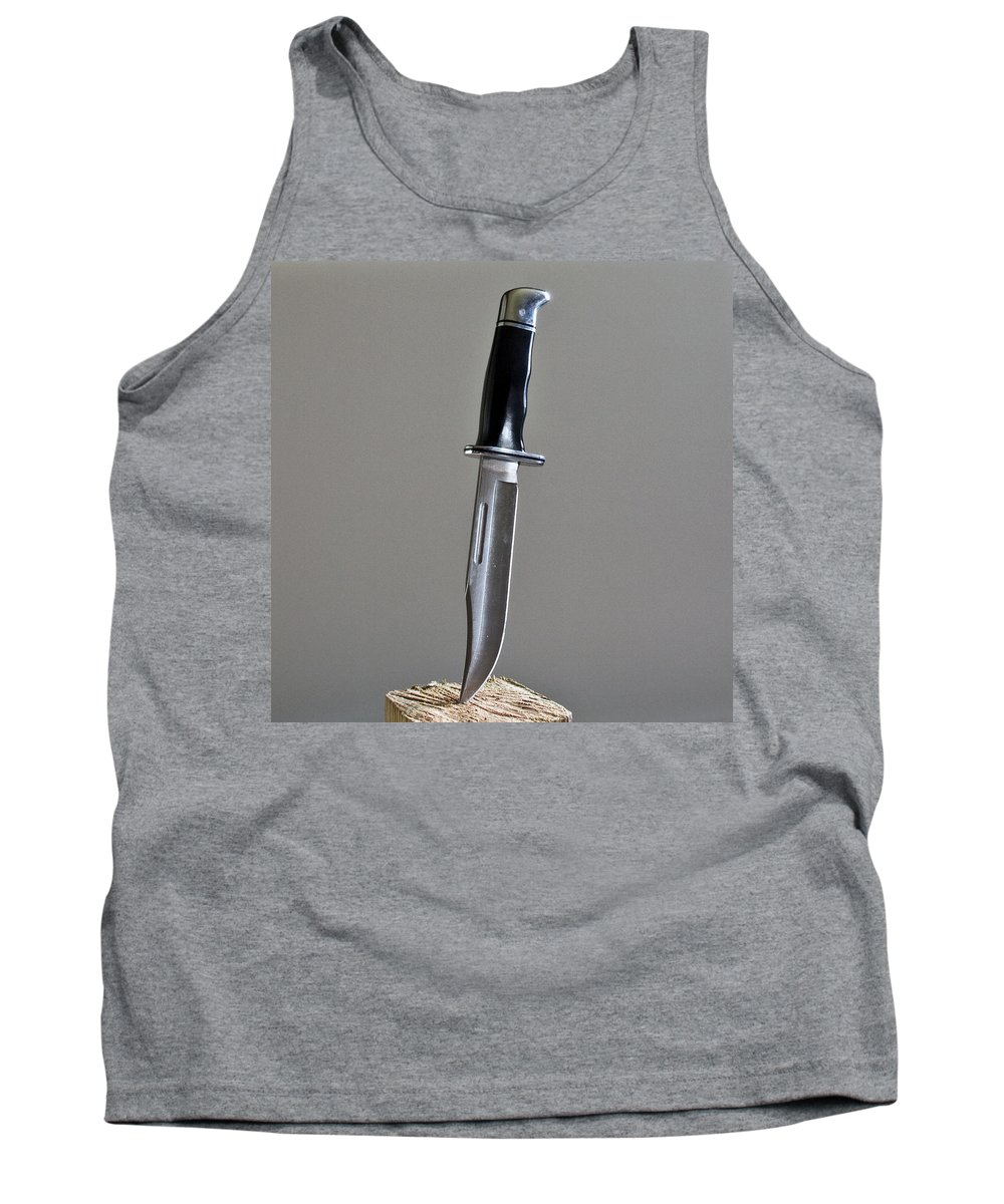 Cold; Steel; Stainless; Knife; Hunting; Hunt; Buck; Camping; Camp; Belt; Sheath; Sharp; Cut; Cutting Tank Top featuring the photograph Cold Steel by Allan Hughes