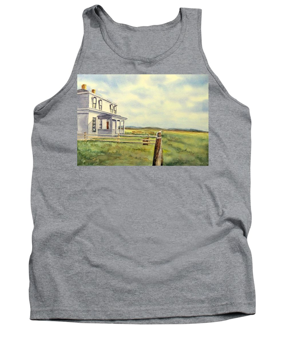 Watercolor Landscape Tank Top featuring the painting Colorado Ranch by Debbie Lewis