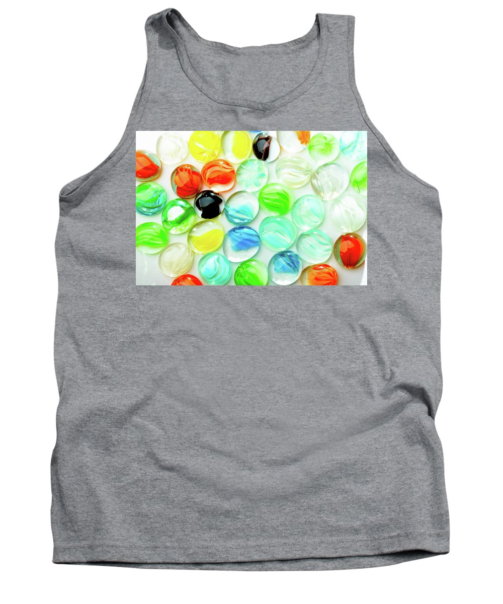 Abstract Tank Top featuring the photograph Colored Glass Beads On White Background by Alain De Maximy