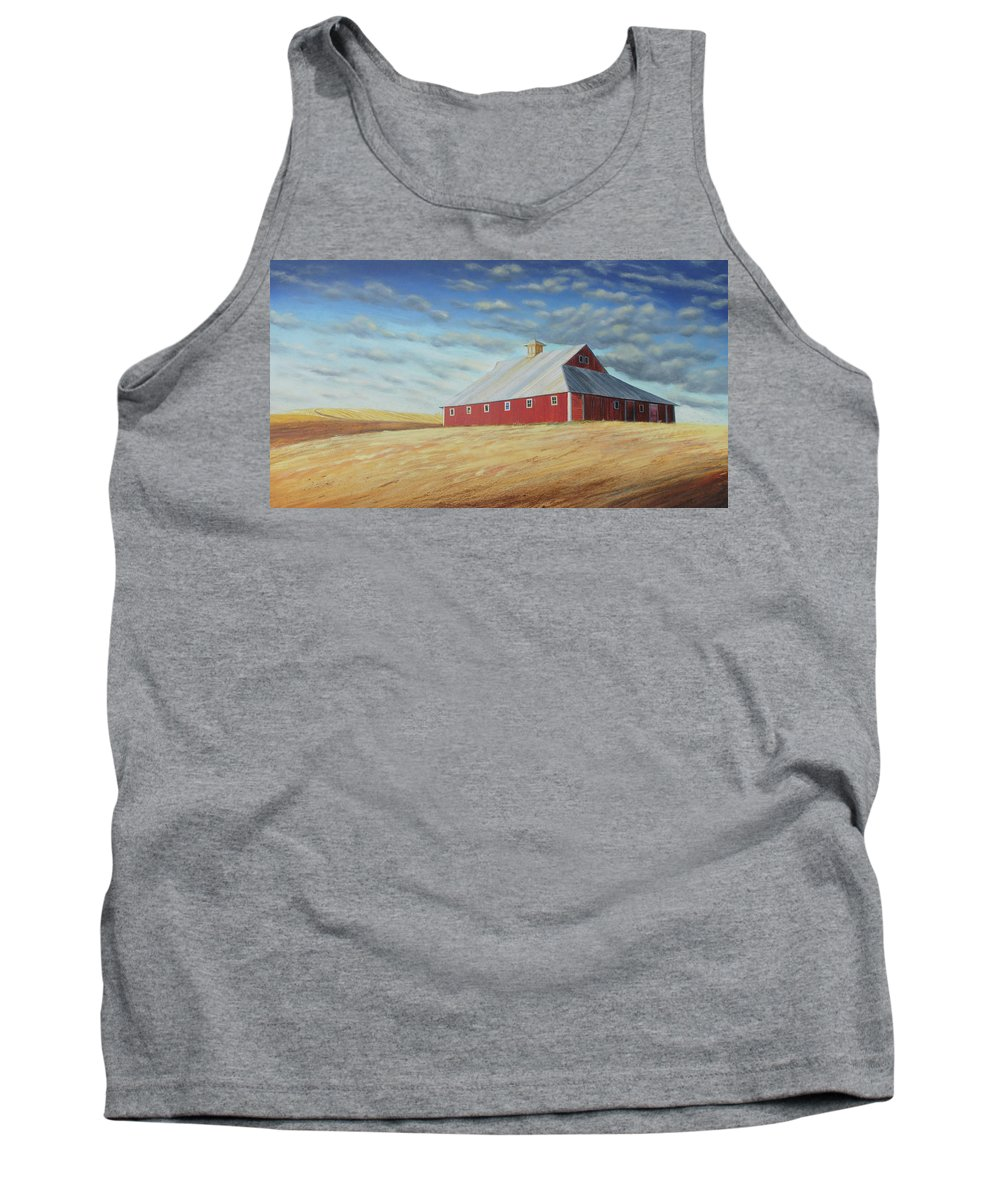 Wheat Tank Top featuring the painting Colton Stable by Leonard Heid