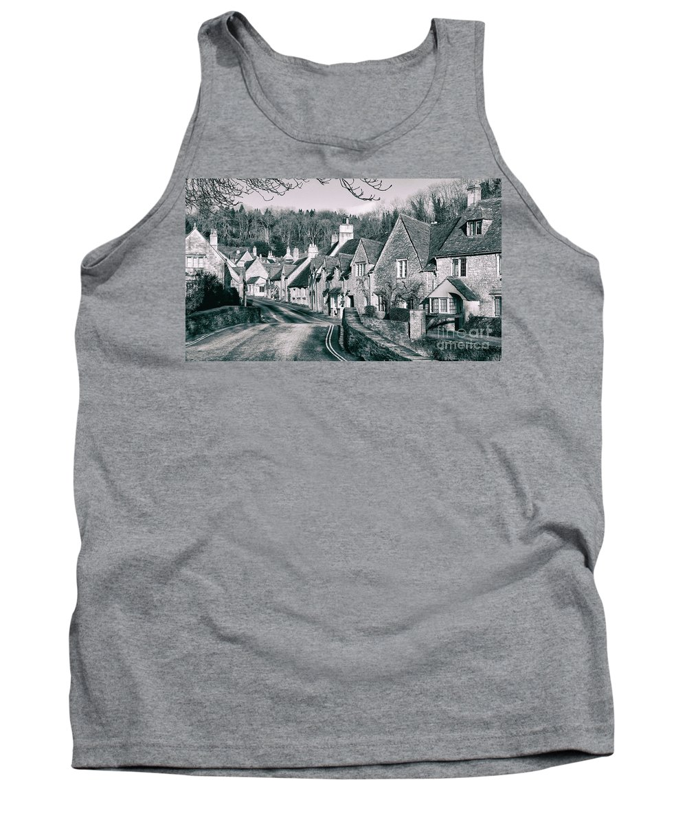 Castle Combe Cotswolds Street Scape Uk England Wiltshire Architecture Historic Countryside Stone Slate Brick Tank Top featuring the photograph Combe Stone by Russell Alexander