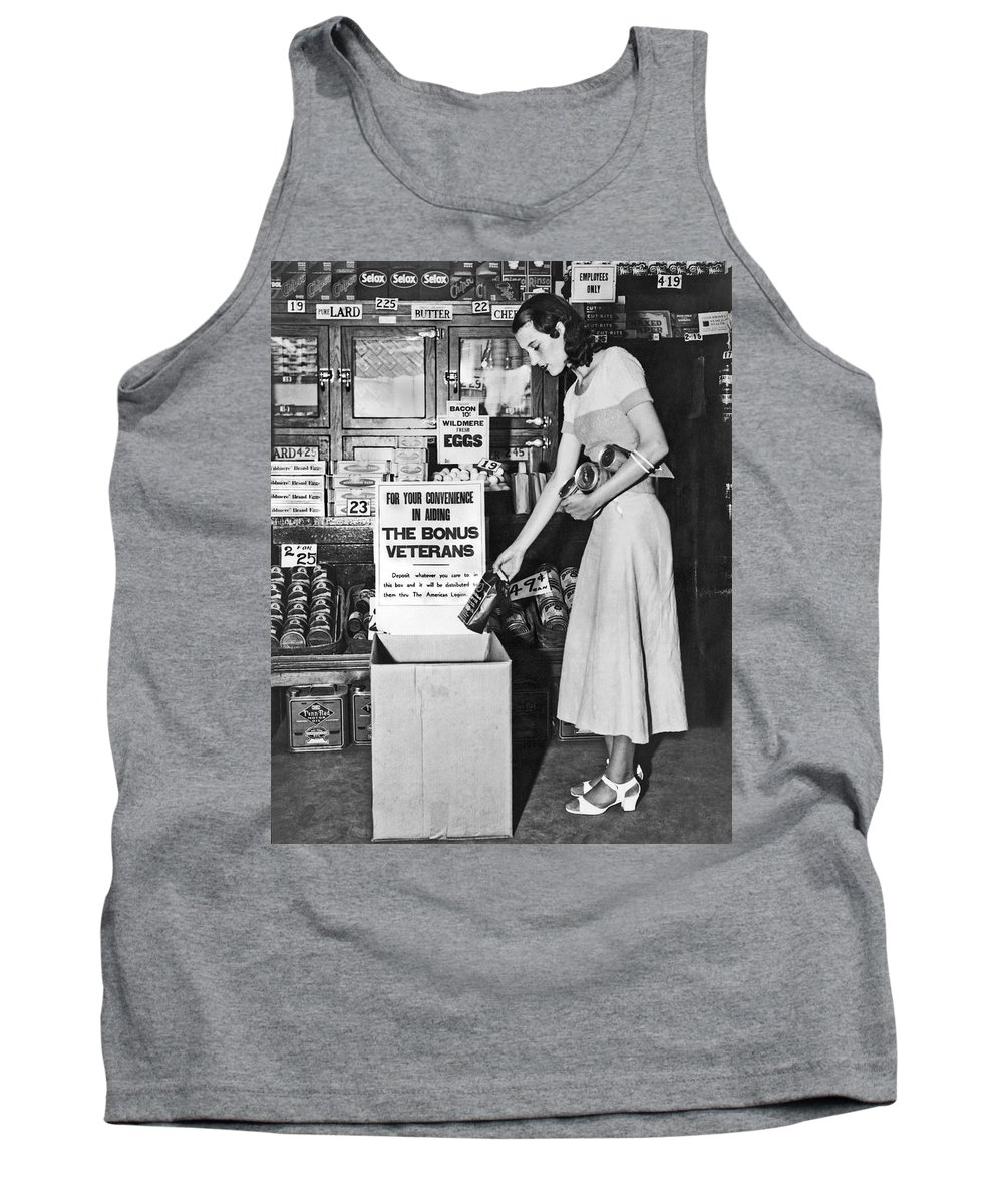 1 Person Tank Top featuring the photograph Contributions For Bonus Army by Underwood Archives
