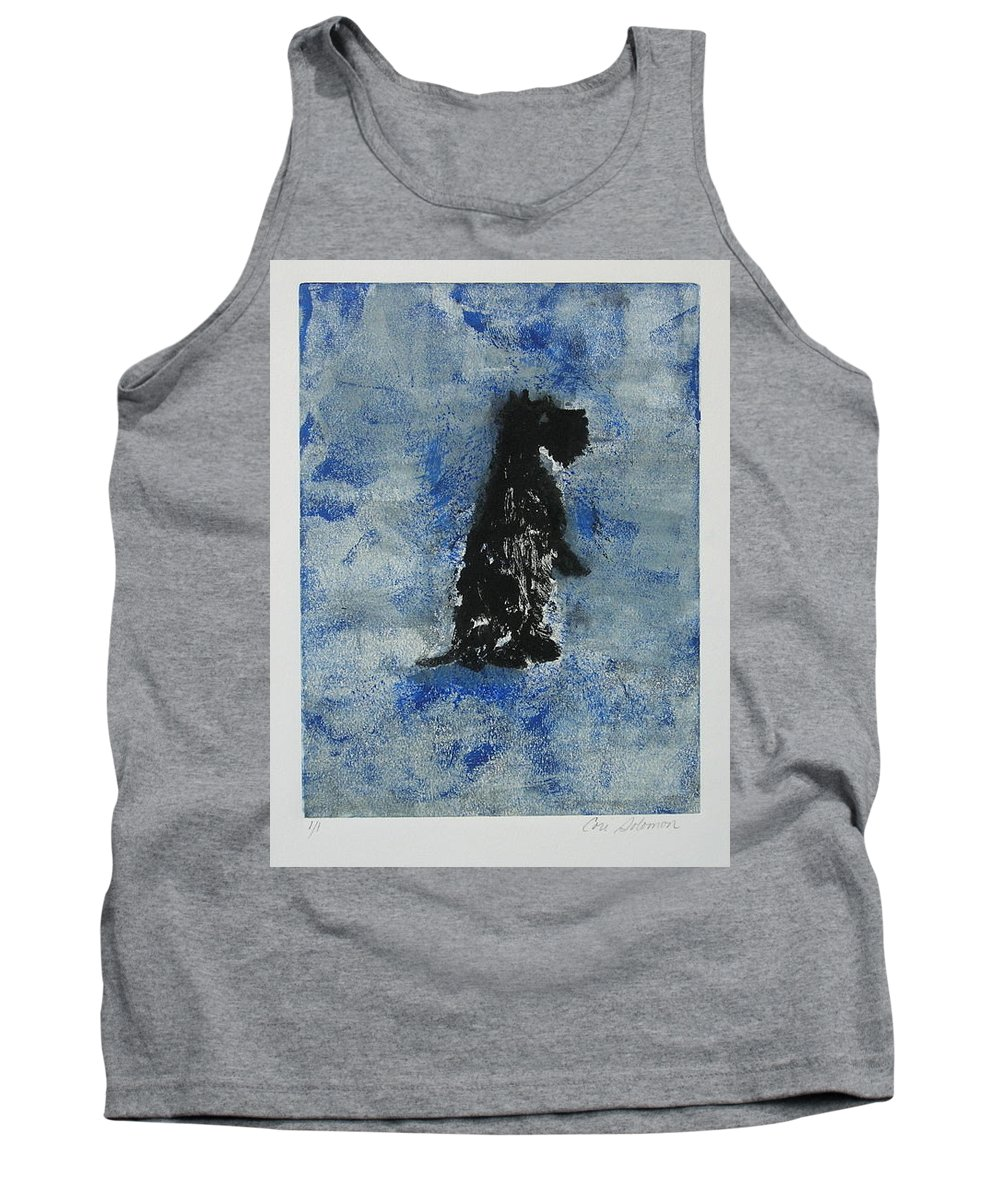 Monotype Tank Top featuring the mixed media Cool Blue by Cori Solomon