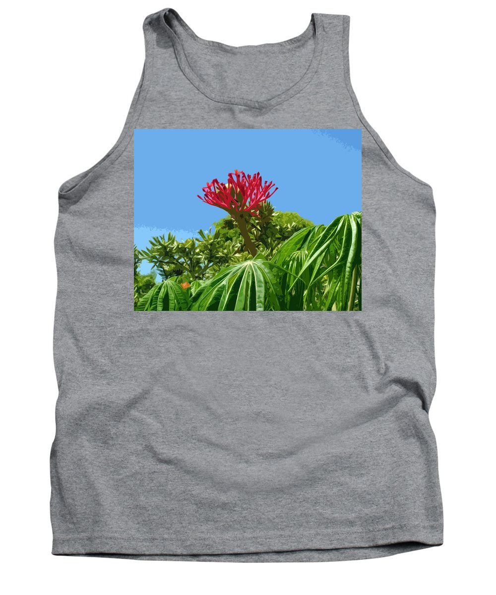 Coral Tank Top featuring the painting Coral Bush Jatropha Multifida With Flower And Fruit by Allan Hughes
