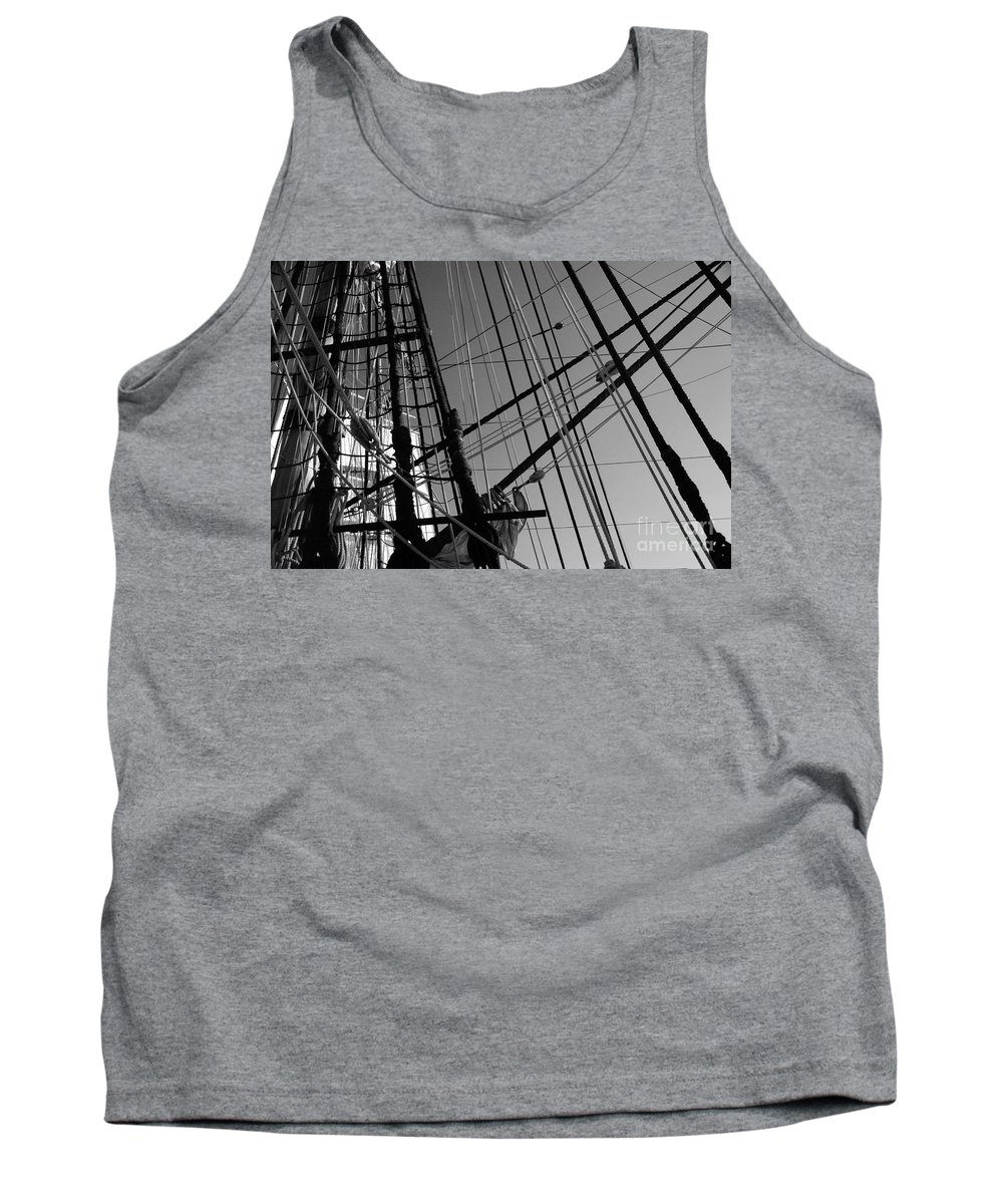 Maritime Tank Top featuring the photograph Cordage by Linda Shafer