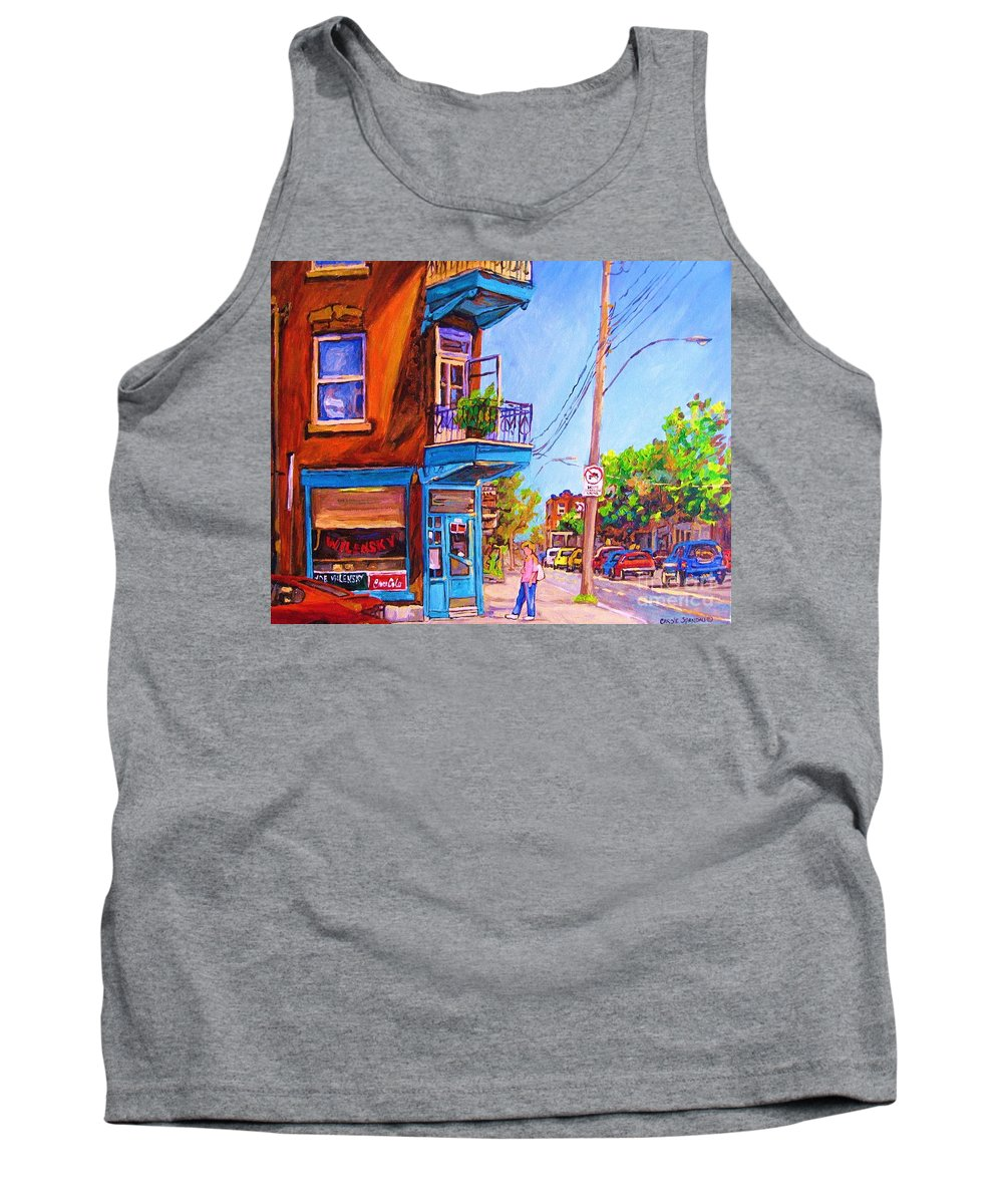 Wilenskys Corner Fairmount And Clark Tank Top featuring the painting Corner Deli Lunch Counter by Carole Spandau