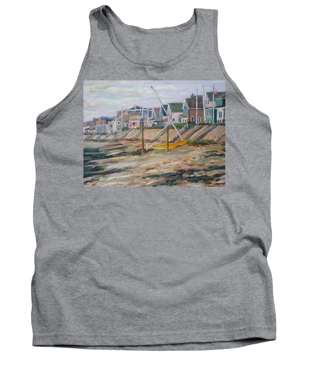 Beach Tank Top featuring the painting Cottages Along Moody Beach by Richard Nowak