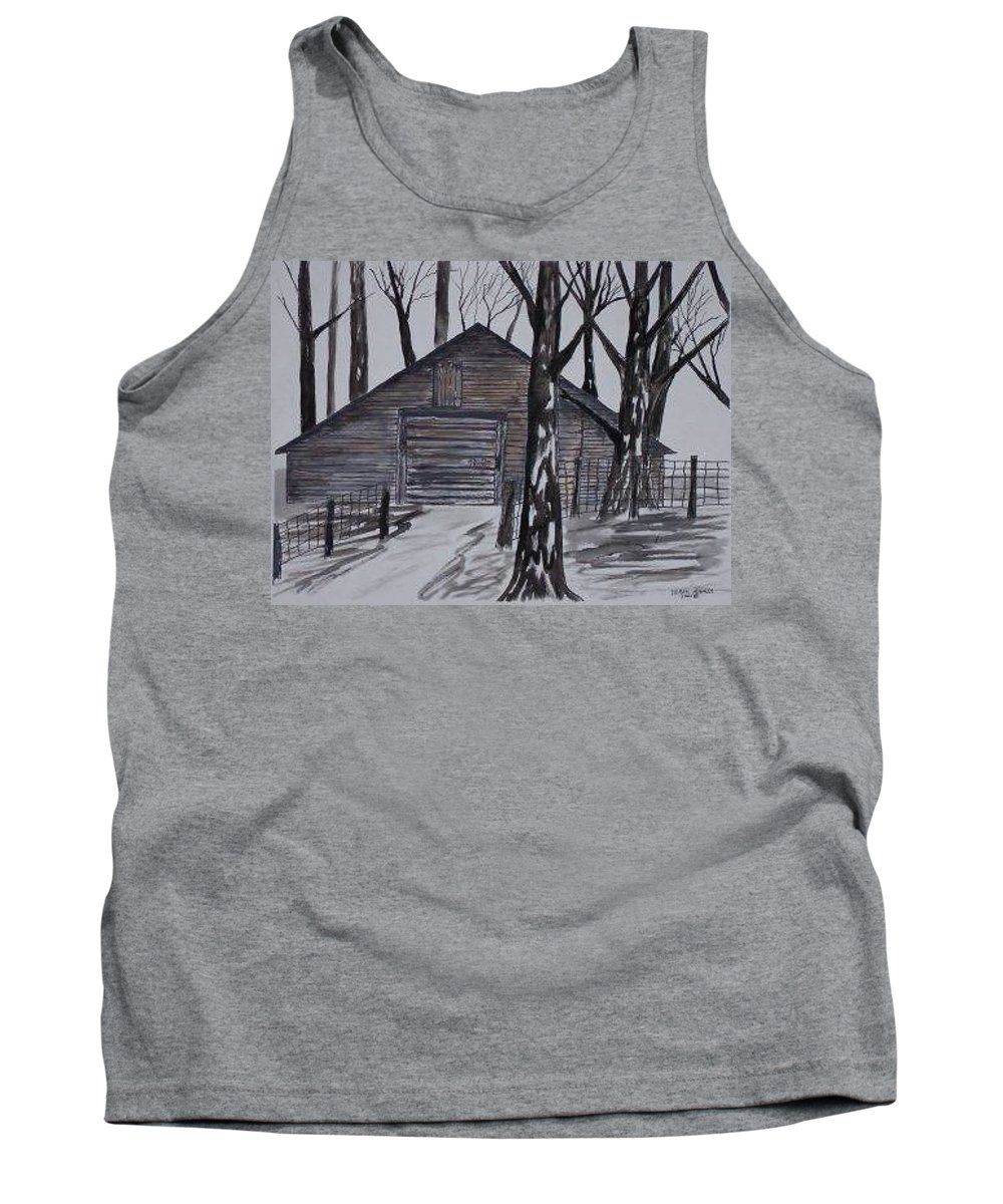Watercolor Landscape Painting Barn Pen And Ink Drawing Print Original Tank Top featuring the painting Country Barn Pen And Ink Drawing Print by Derek Mccrea