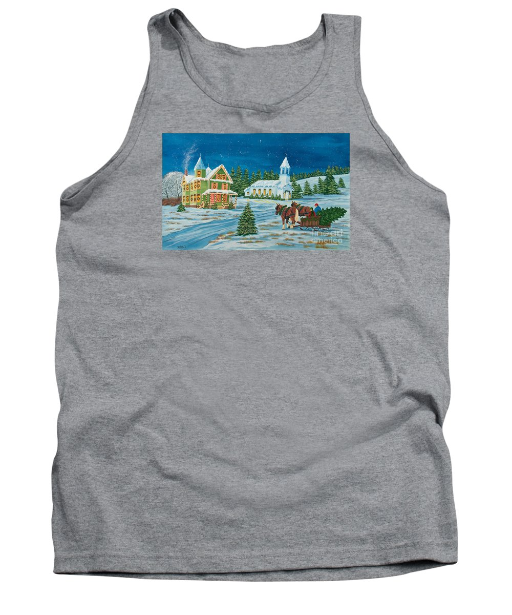 Winter Scene Paintings Tank Top featuring the painting Country Christmas by Charlotte Blanchard