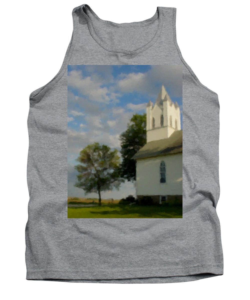 Church Tank Top featuring the digital art Country Chuch by Anita Burgermeister