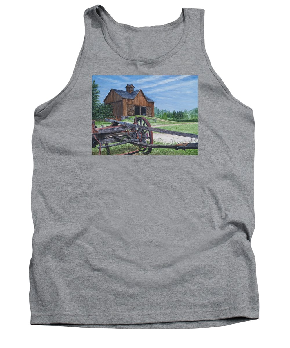 Country Farm Tank Top featuring the painting Country Farm by Vicky Path