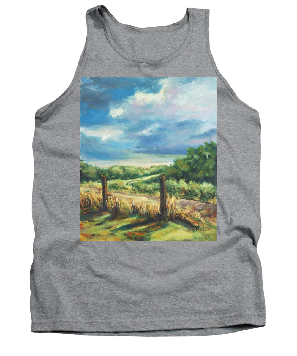 Clouds Tank Top featuring the painting Country Road by Rick Nederlof