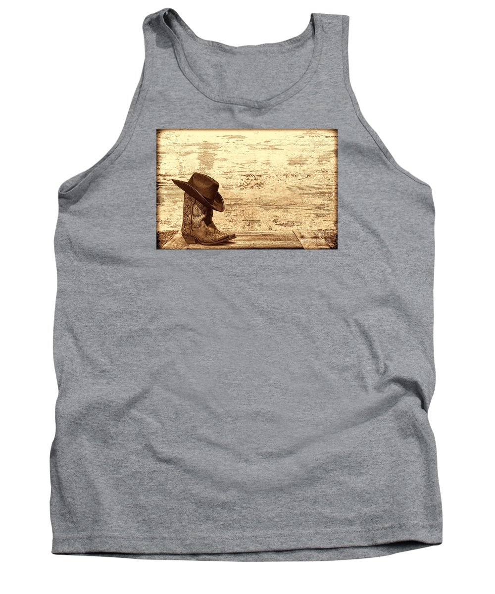 Cowgirl Tank Top featuring the photograph Cowgirl Boots by American West Legend By Olivier Le Queinec
