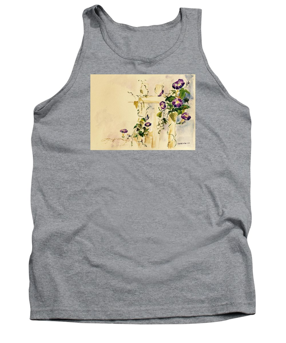 Watercolor Tank Top featuring the painting Crawling Flowers by Daniel Xiao