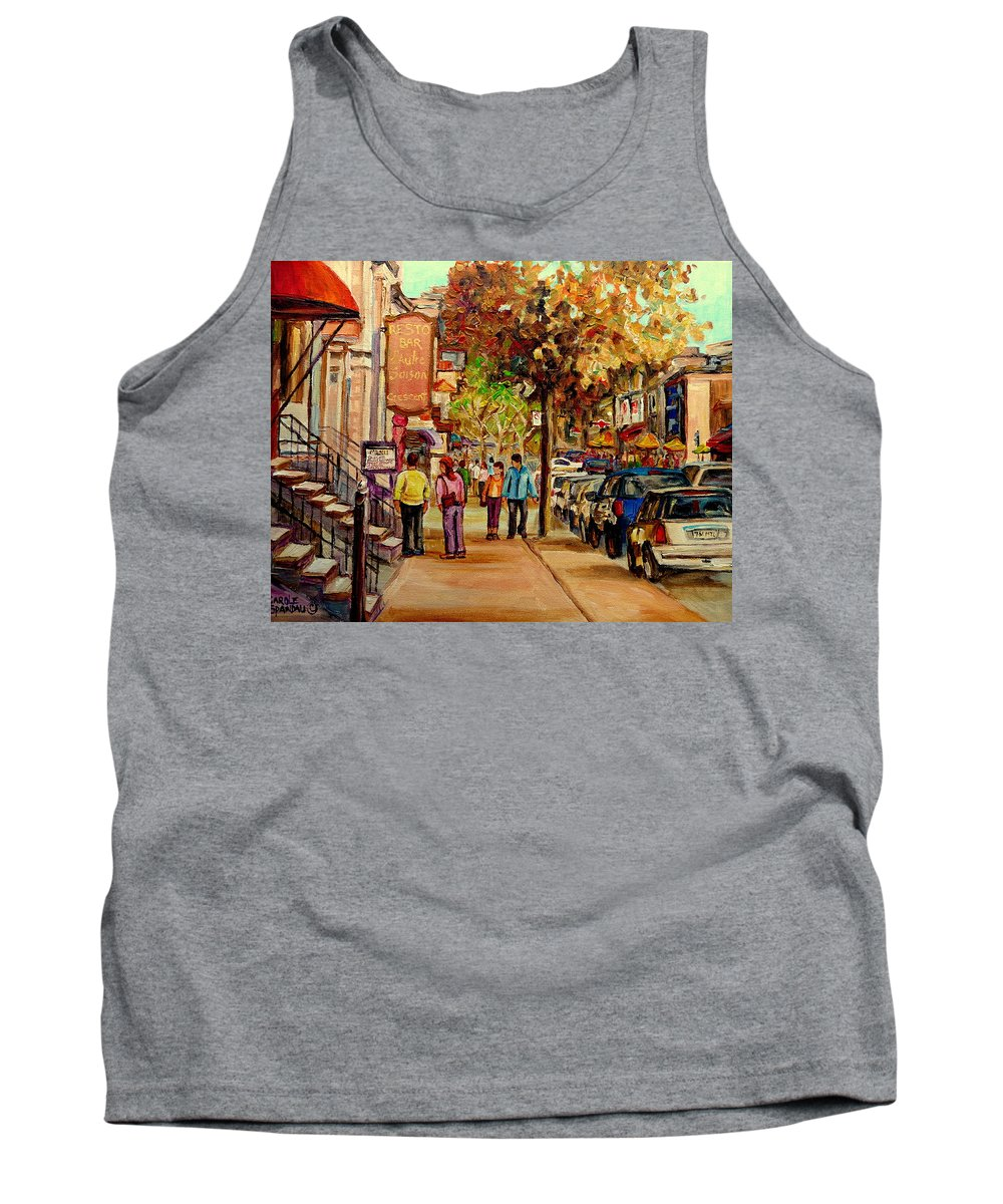 Montreal Streetscenes Tank Top featuring the painting Crescent Street Montreal by Carole Spandau