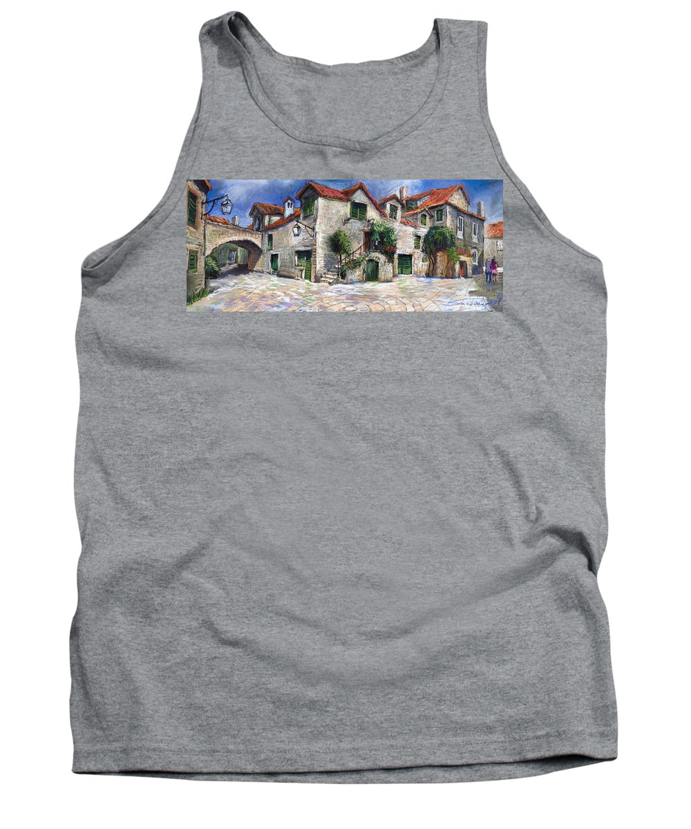 Pastel On Paper Tank Top featuring the painting Croatia Dalmacia Square by Yuriy Shevchuk