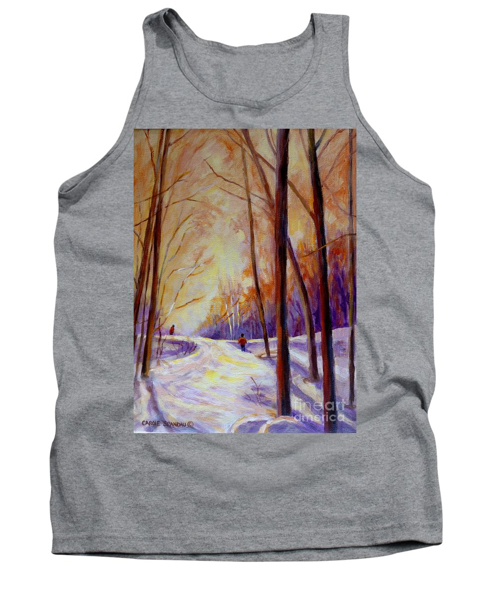 Cross Country Siing St. Agathe Quebec Tank Top featuring the painting Cross Country Sking St. Agathe Quebec by Carole Spandau