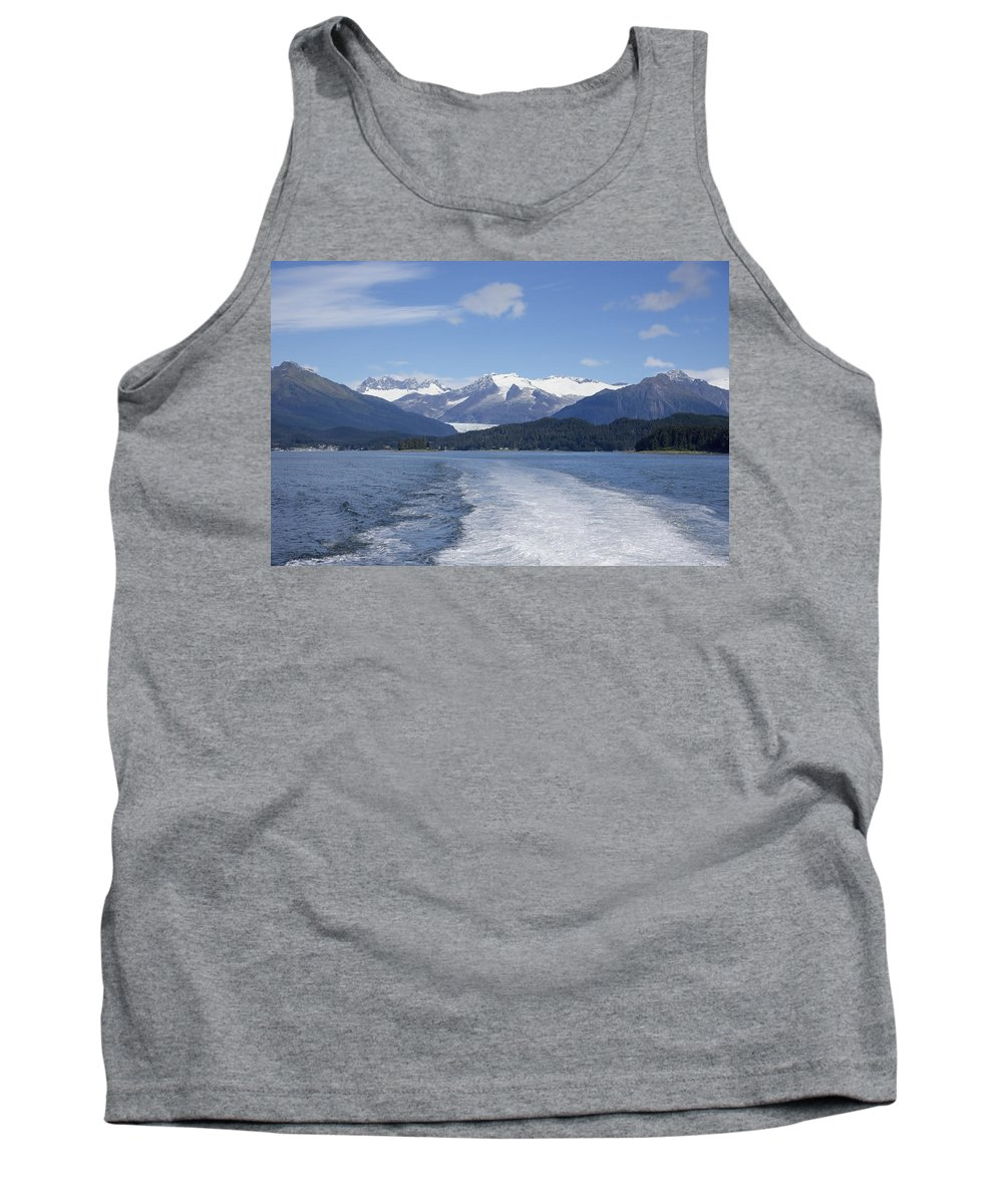 Cruise Ship Mountains Tank Top featuring the photograph Cruise Ship Mountains by Richard J Cassato