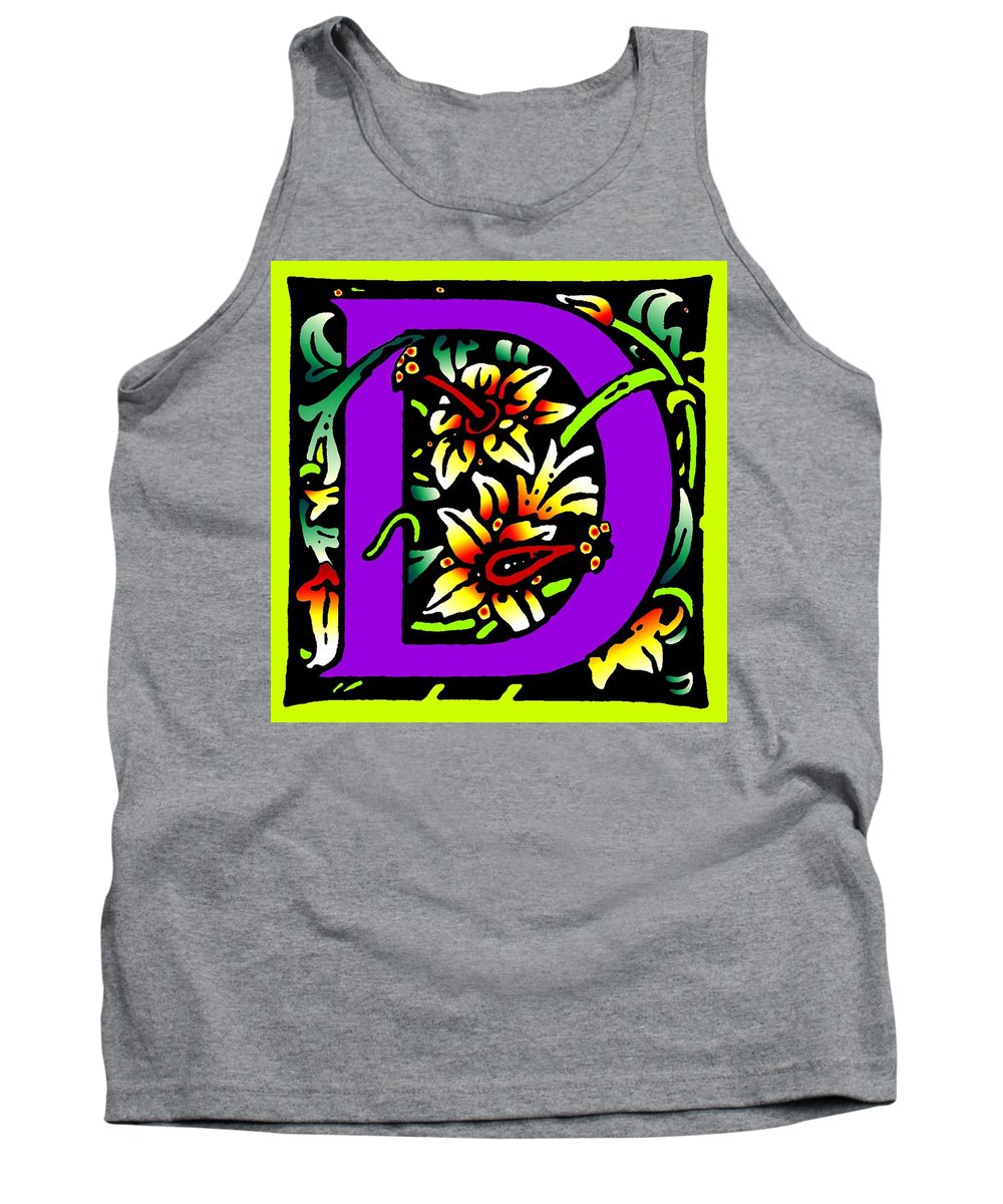 Alphabet Tank Top featuring the digital art D In Purple by Kathleen Sepulveda