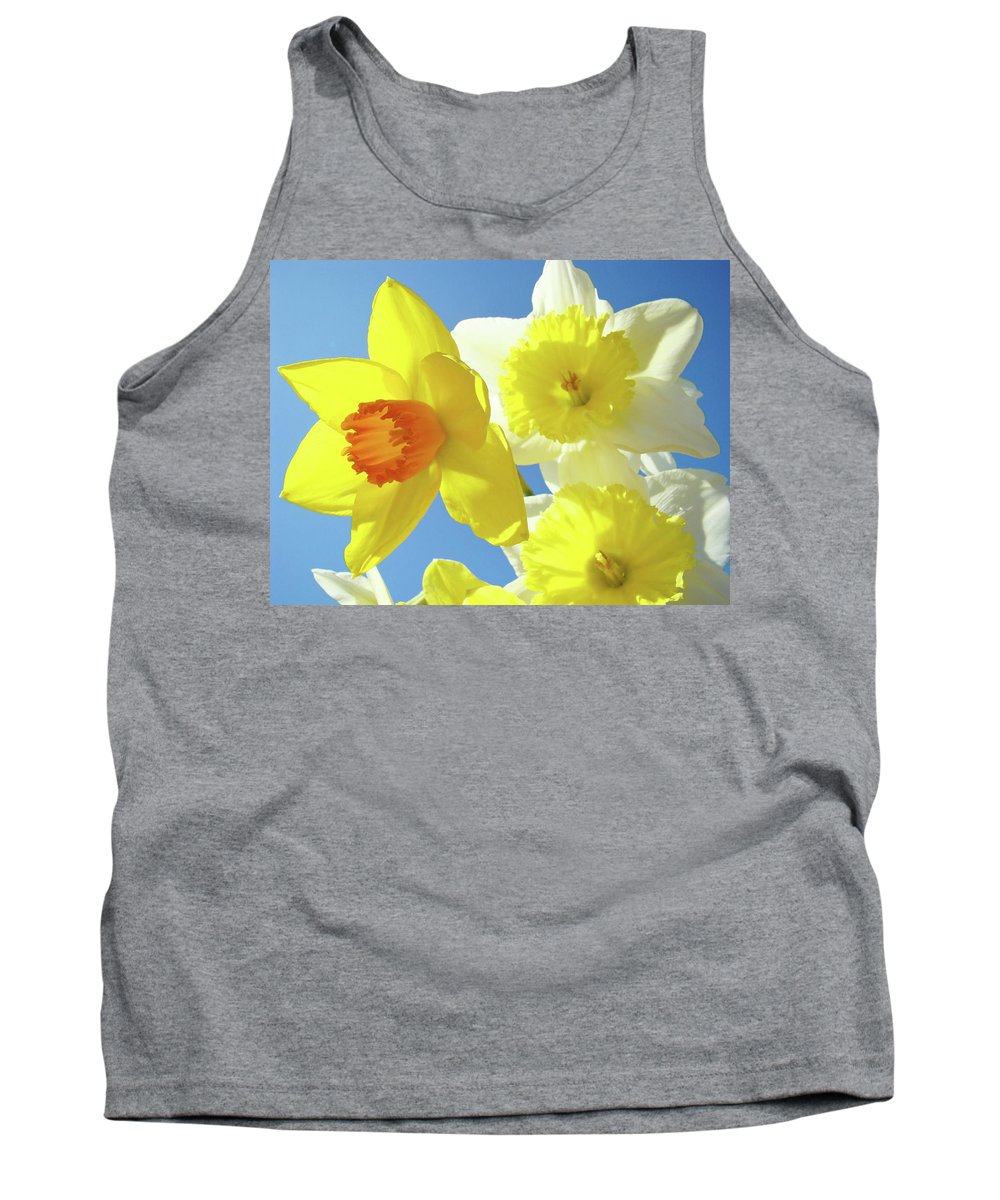 Flowers Tank Top featuring the photograph Daffodils Art Print Floral Sky Bouquet Daffodil Flower Baslee by Baslee Troutman