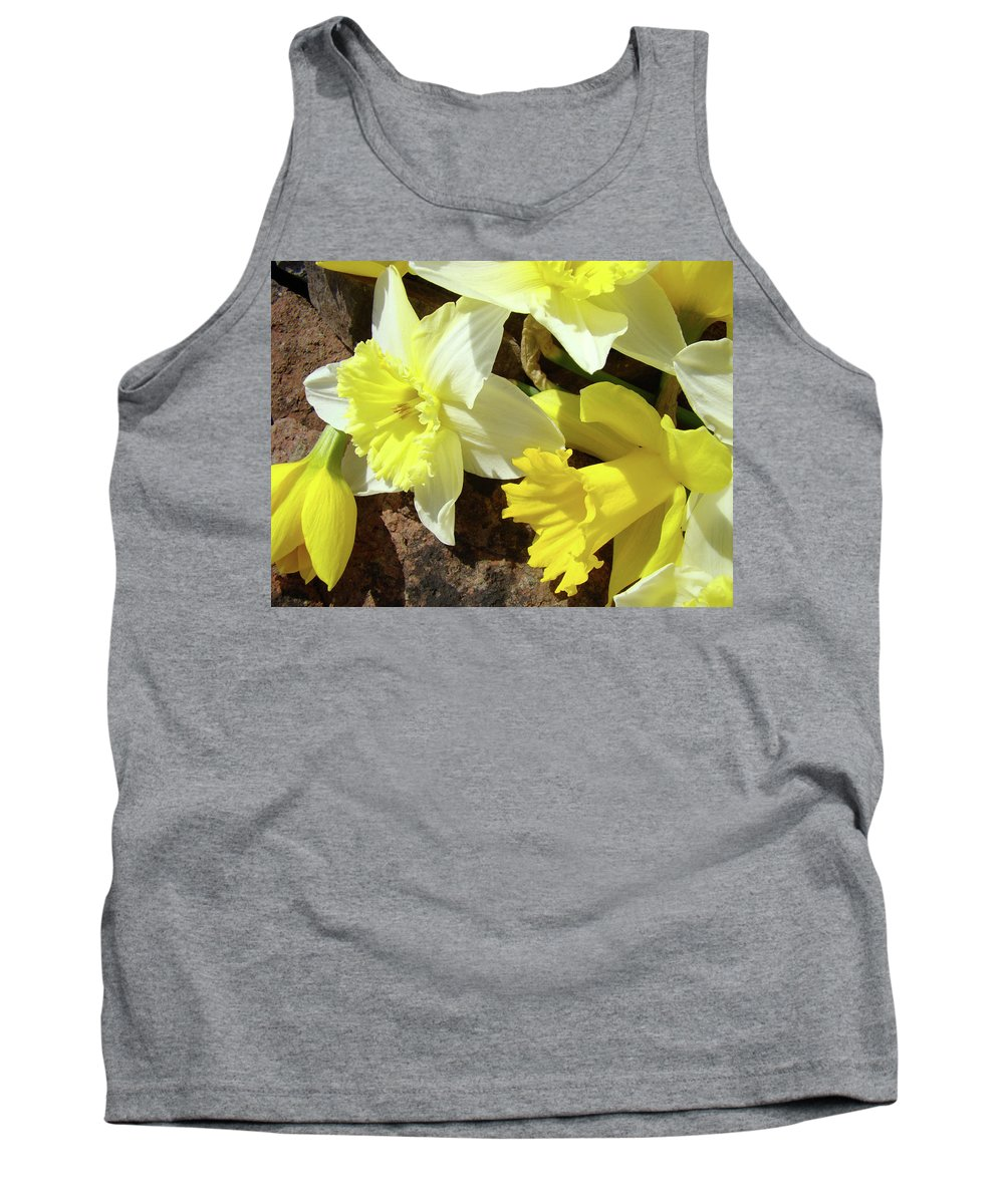 �daffodils Artwork� Tank Top featuring the photograph Daffodils Flower Bouquet Rustic Rock Art Daffodil Flowers Artwork Spring Floral Art by Baslee Troutman