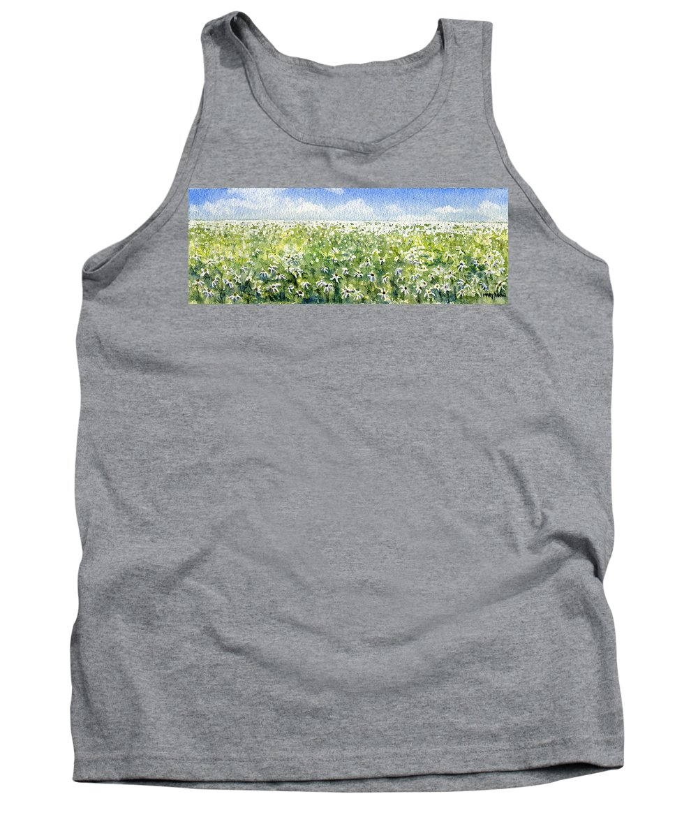 Nature Tank Top featuring the painting Daisy Field by Mary Tuomi