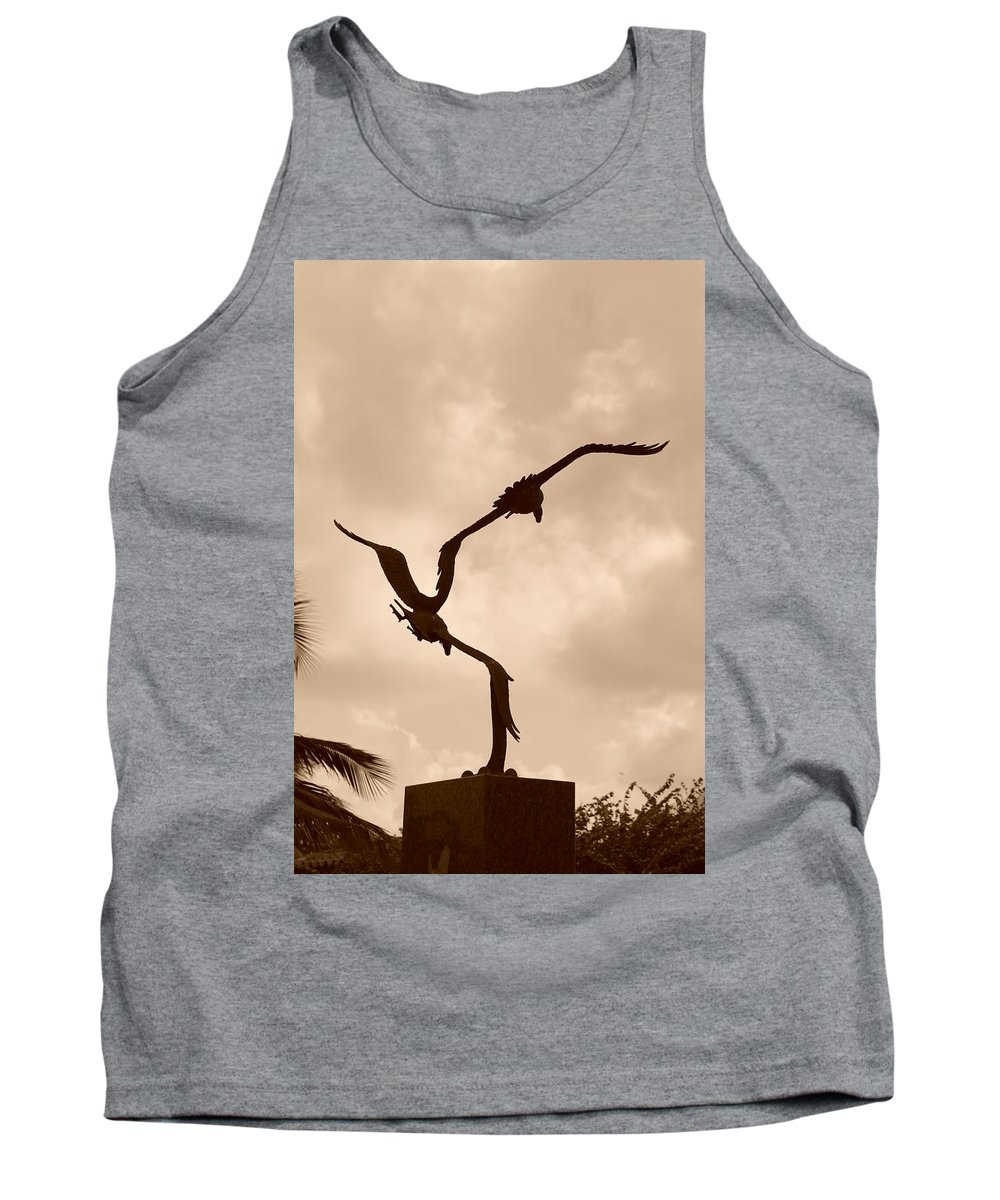 Sepia Tank Top featuring the photograph Dancing Birds by Rob Hans