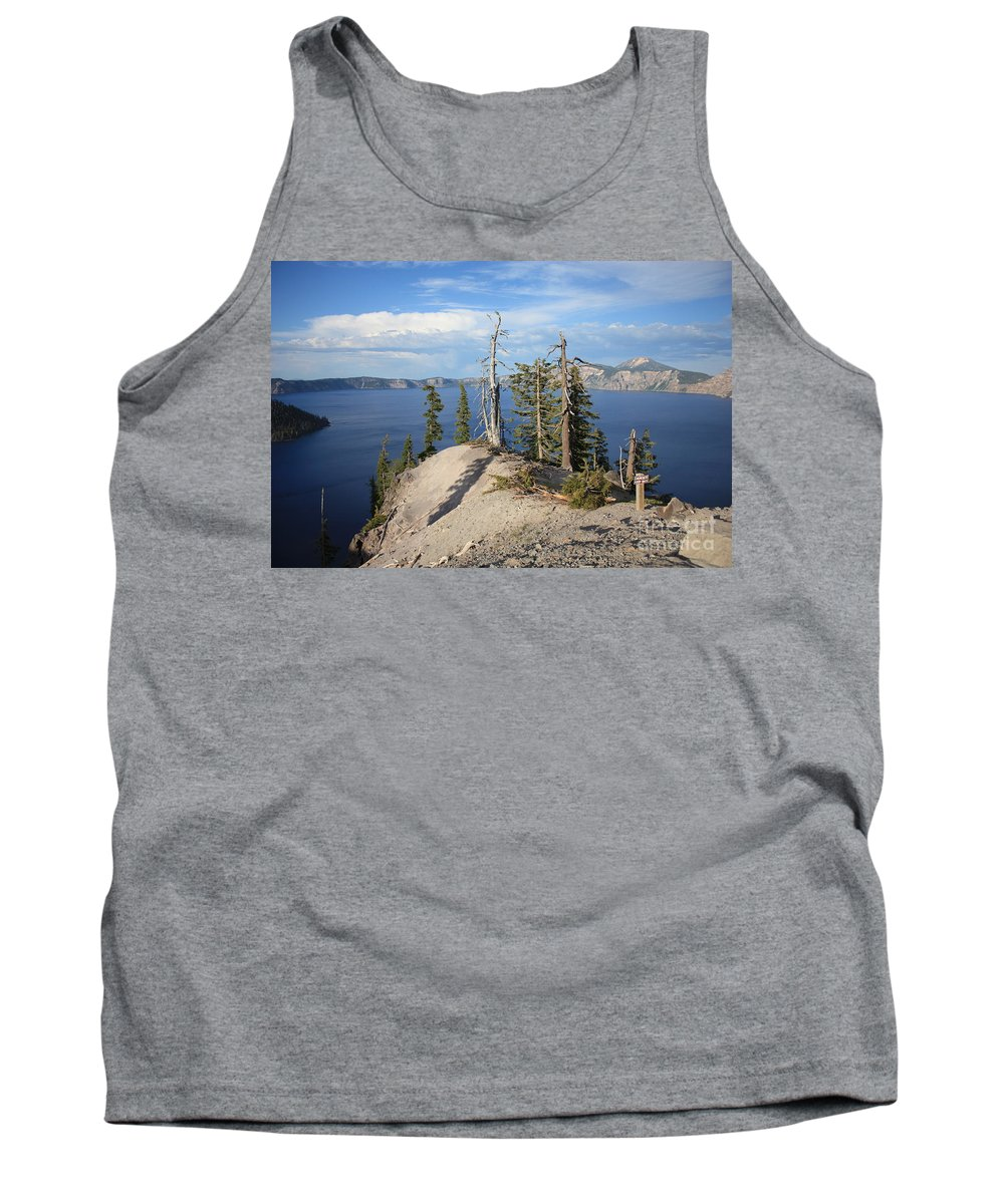 Crater Lake Tank Top featuring the photograph Dangerous Slope At Crater Lake by Carol Groenen
