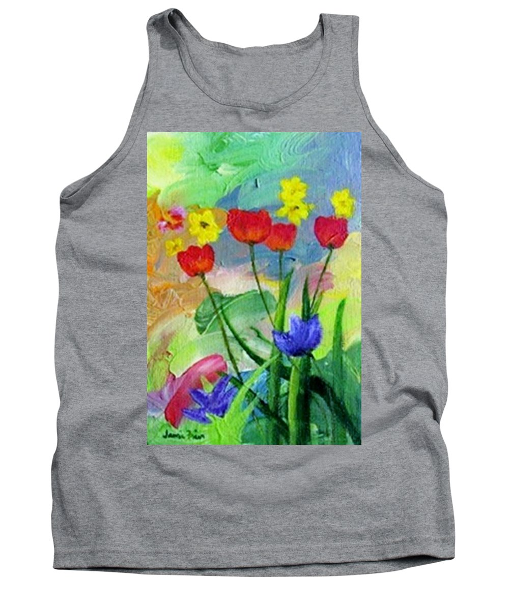 Tulips Tank Top featuring the painting Daria's Flowers by Jamie Frier