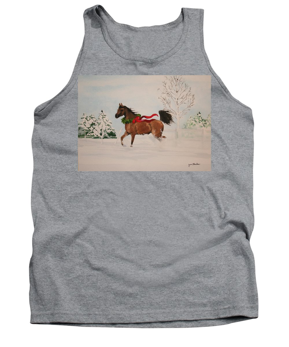 Horse Tank Top featuring the painting Dashing Thru The Snow by Jean Blackmer