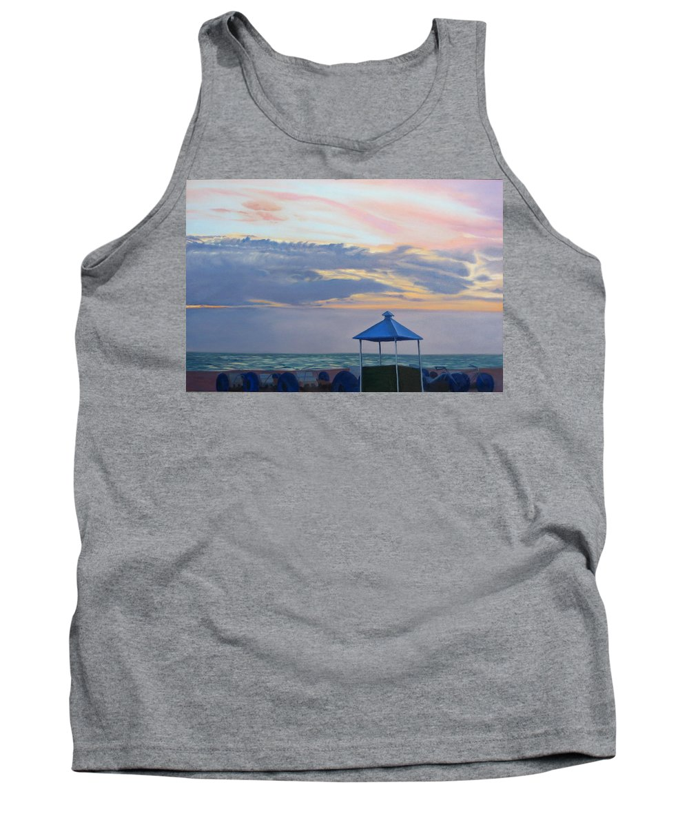 Sunset Tank Top featuring the painting Day Is Done by Lea Novak