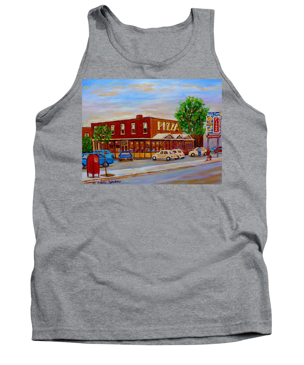 Tasty Food Pizza Tank Top featuring the painting Decarie Tasty Food Pizza by Carole Spandau