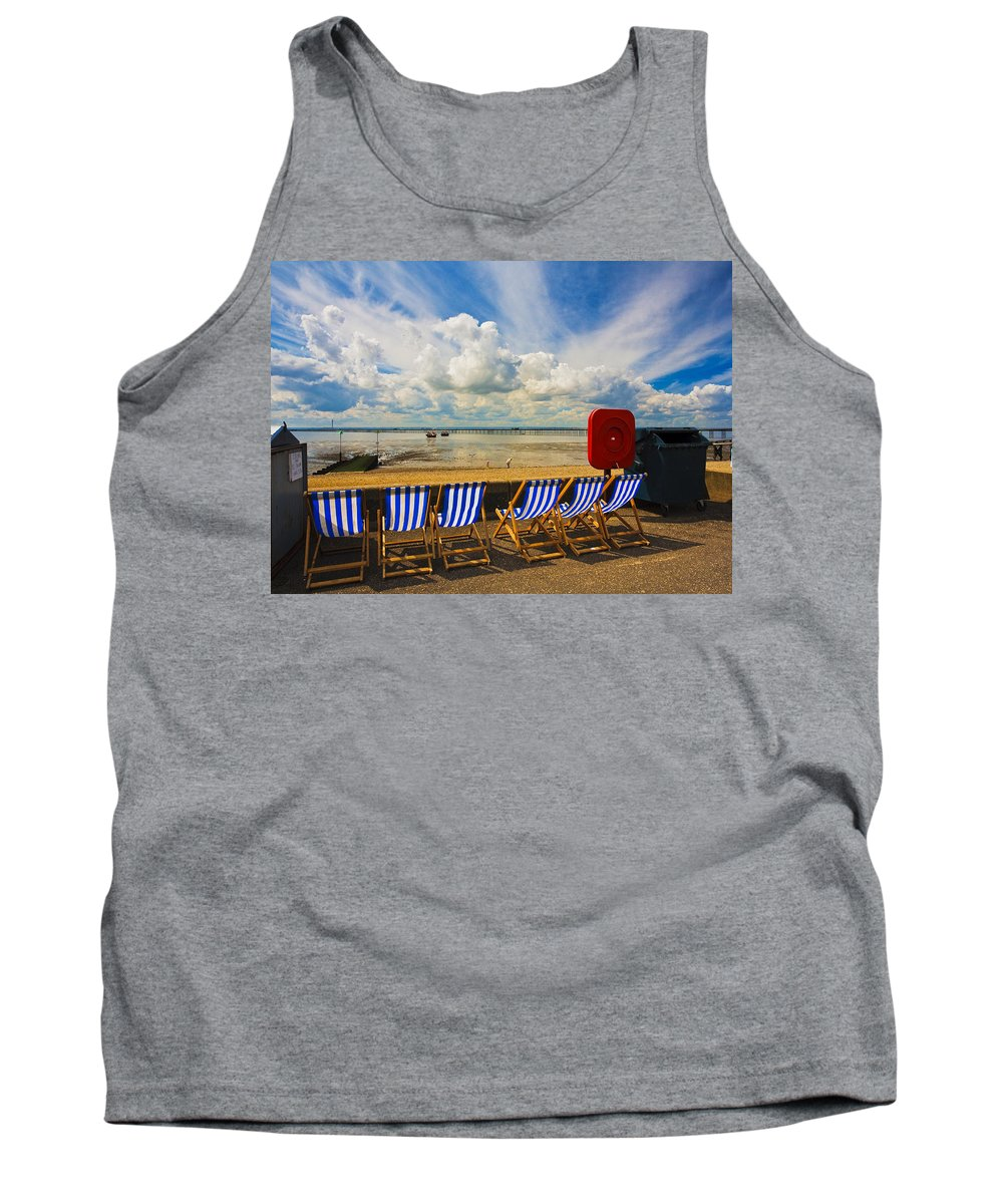 Southend On Sea Tank Top featuring the photograph Deck Chairs At Southend On Sea by Sheila Smart Fine Art Photography