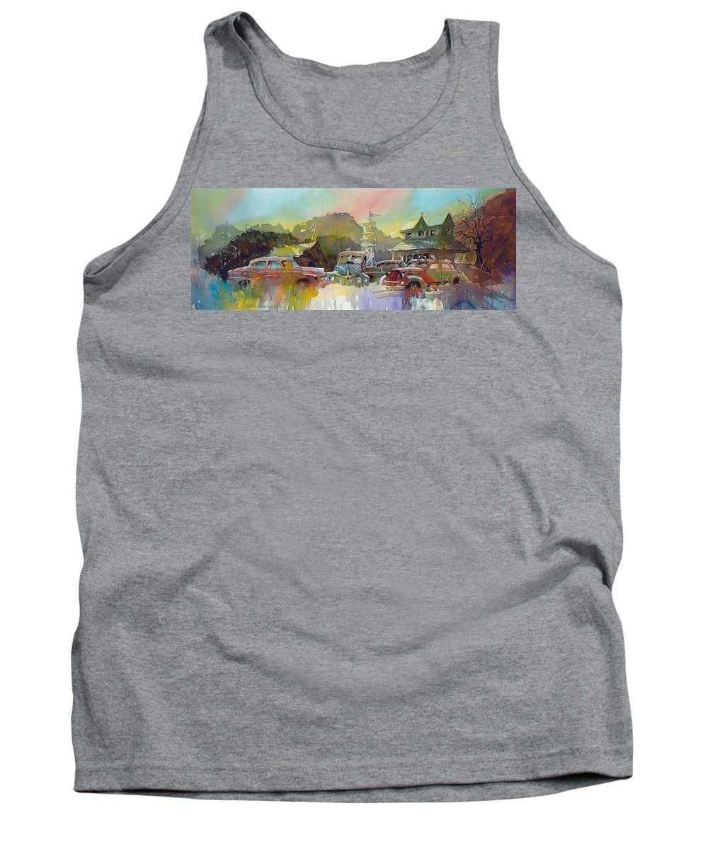 Rusty Old Cars Tank Top featuring the painting Derelicts on Duty by Ron Morrison