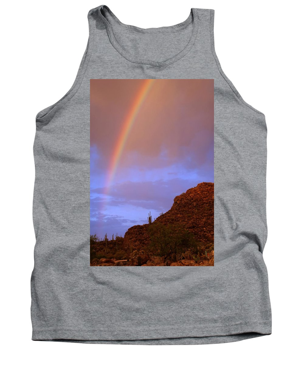 Rainbow Tank Top featuring the photograph Desert Rainbow by Jill Reger