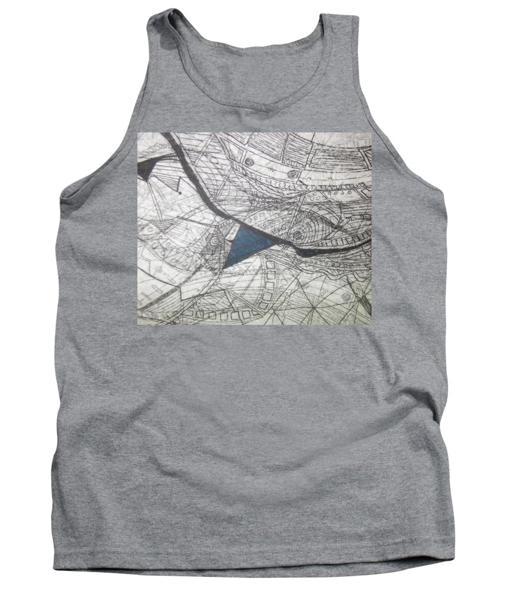 Mixed Tank Top featuring the mixed media detail, ''Blues'' by Edina Besic
