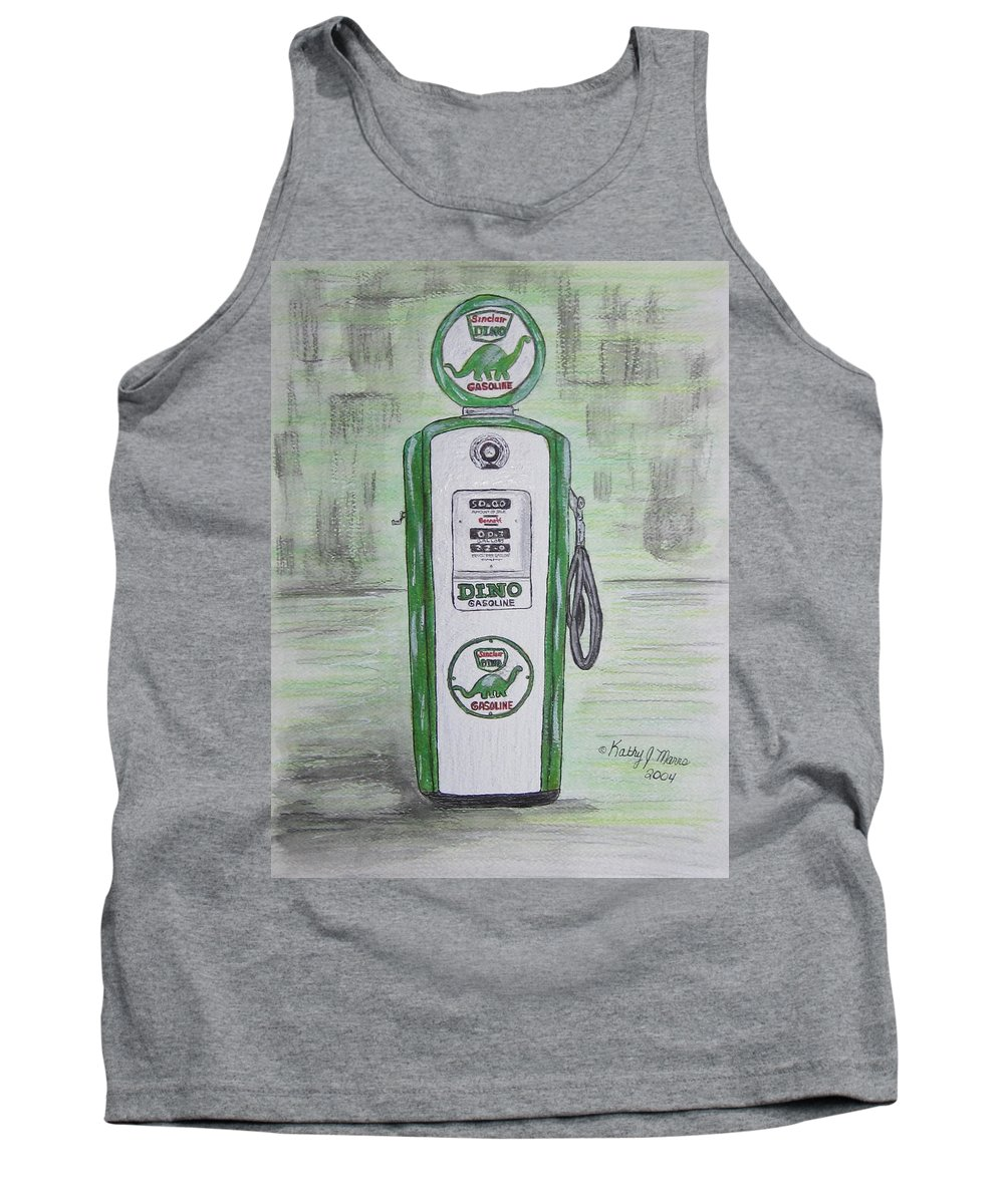 Dino Tank Top featuring the painting Dino Sinclair Gas Pump by Kathy Marrs Chandler