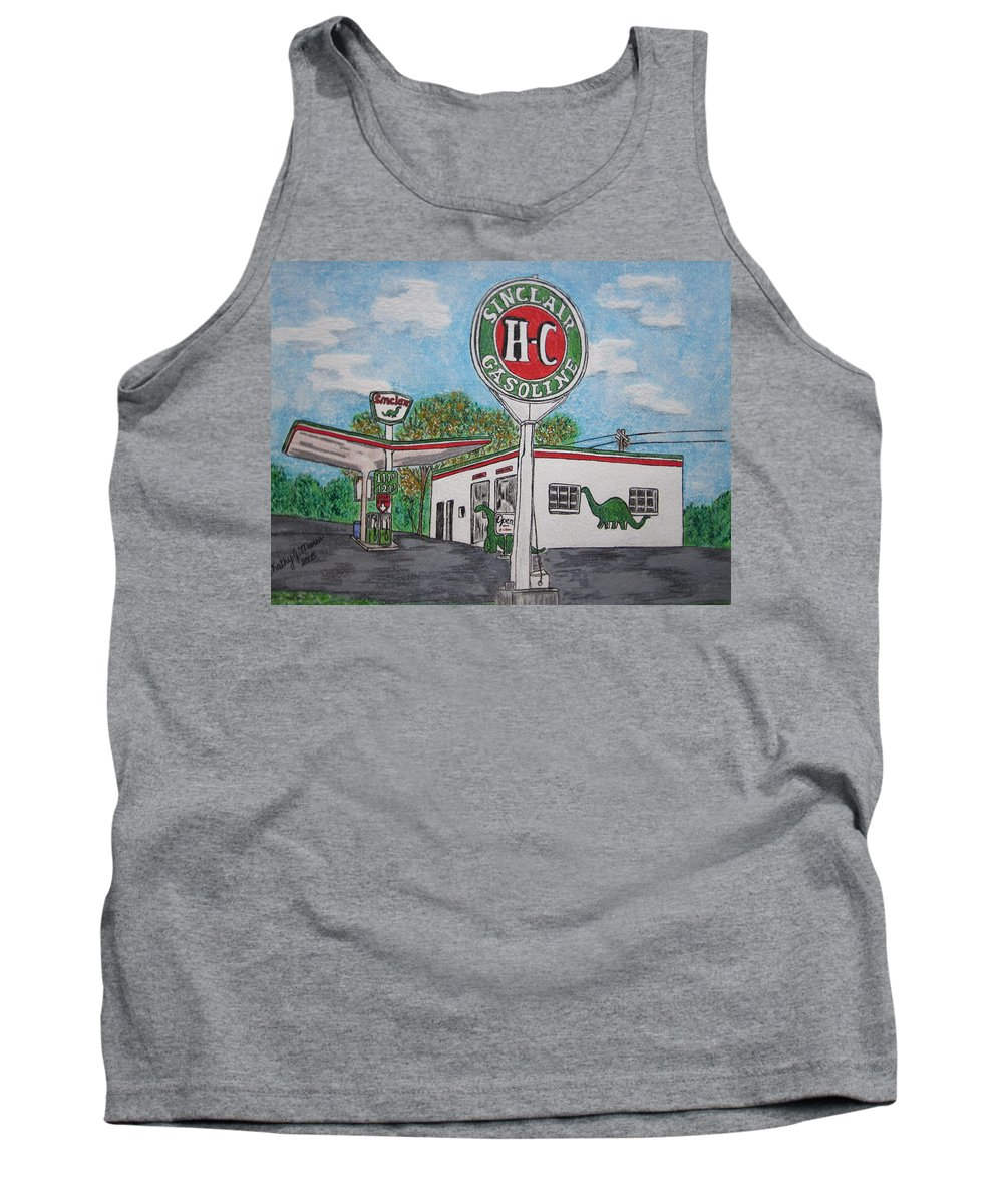 Dino Tank Top featuring the painting Dino Sinclair Gas Station by Kathy Marrs Chandler