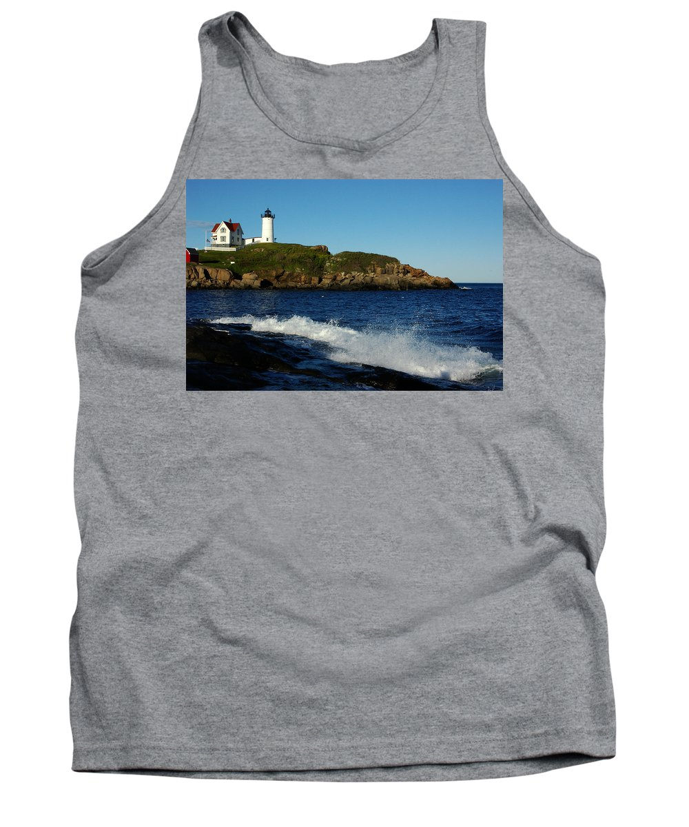 Landscape Lighthouse Nautical New England Cape Neddick Nubble Light Tank Top featuring the photograph Dnre0608 by Henry Butz