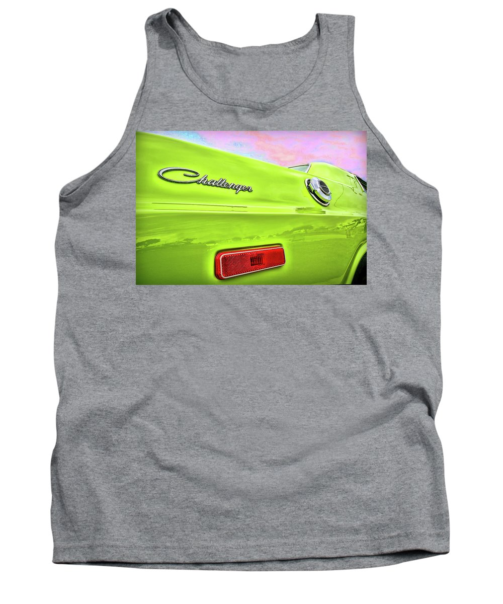 1972 Tank Top featuring the photograph Dodge Challenger In Sublime Green by Gordon Dean II