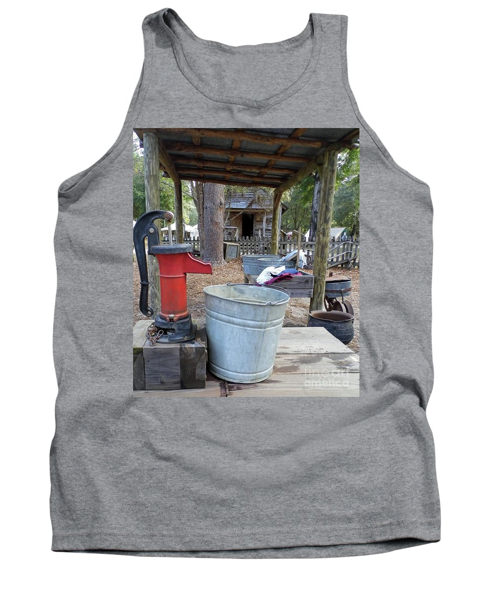 Water Pump Tank Top featuring the photograph Doing Laundry by D Hackett