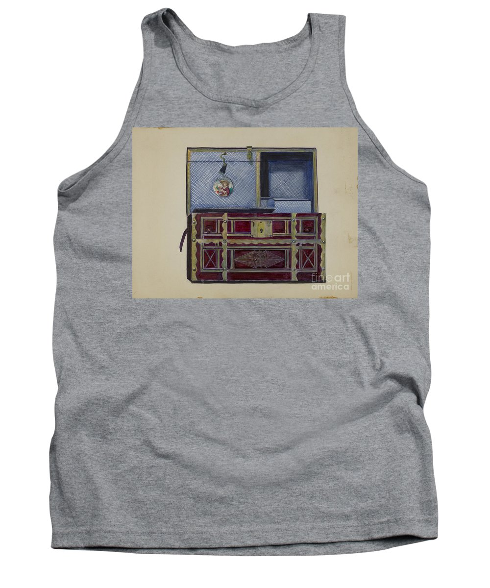 Tank Top featuring the drawing Doll's Trunk by Mina Lowry