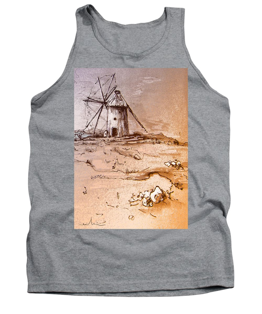Don Quijote Tank Top featuring the painting Don Quijote Windmills 06 by Miki De Goodaboom